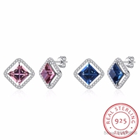 LEKANI Crystals From SWAROVSKI Fashion Square Stud Earrings Real S925 Silver Piercing Fine Jewelry For Women Joyas
