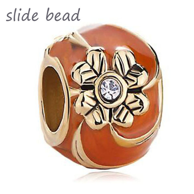 fe117eafb Fit Pandora charm bracelets Orange Four Leaf Celtic Claddagh Irish Charm  Clover Faberge Egg Beads for jewelry making