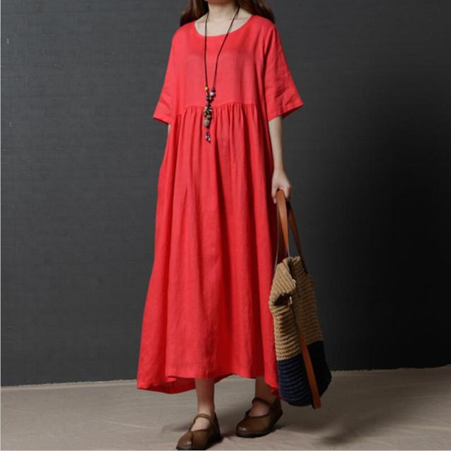 5e867db162 New women solid high waist half sleeve cotton linen dress plus size black  navy blue red green Vintage Dress Autunm long dress