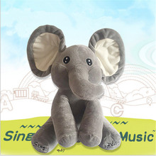 New Peekaboo Elephant Electronic Plush Toy Singing Elephant Doll Music Beat Ear Can Talking Elefante Pelucia Christmas Juguetes singing elephant doll