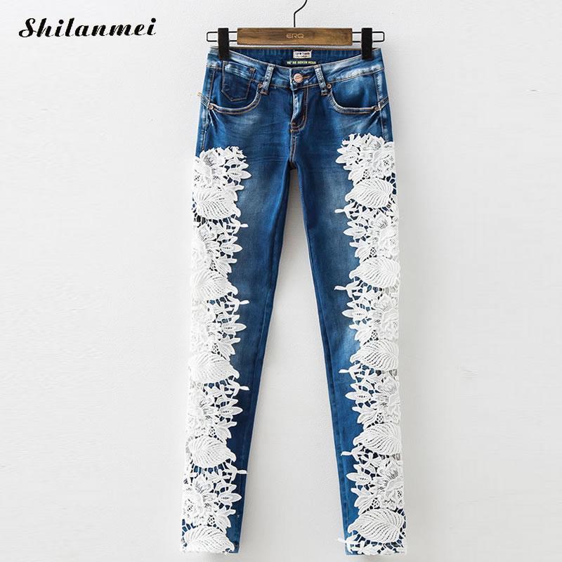 Hip Hop Jeans Women Hollow Lace Ripped Jeans for Women Plus Size Torn Frayed Zipper Fly Pants Mujer Feminino Long Denim Trousers denim zipper hollow worn stiletto womens sandals