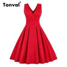 Tonval czerwona plisowana gładka jednokolorowa klasyczna sukienka kobiety Wrap dekolt w paski elegancka strona bawełna Retro letnie sukienki