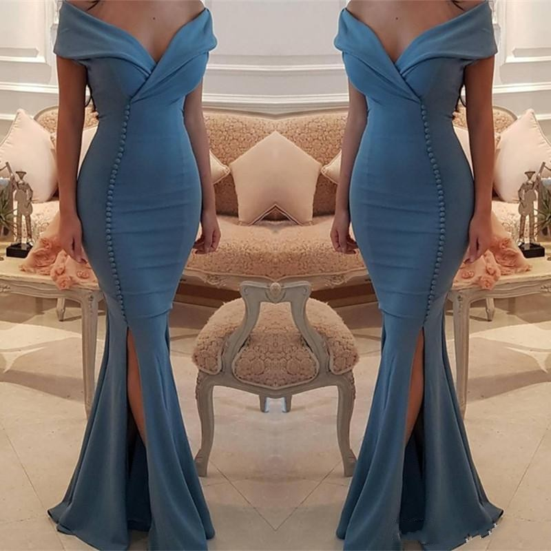 Matte Satin   Evening     Dress   Mermaid vestido de festa LongEvening Gown Off Shoulder Long Formal   Dress   Pleats Buttons robe de soiree