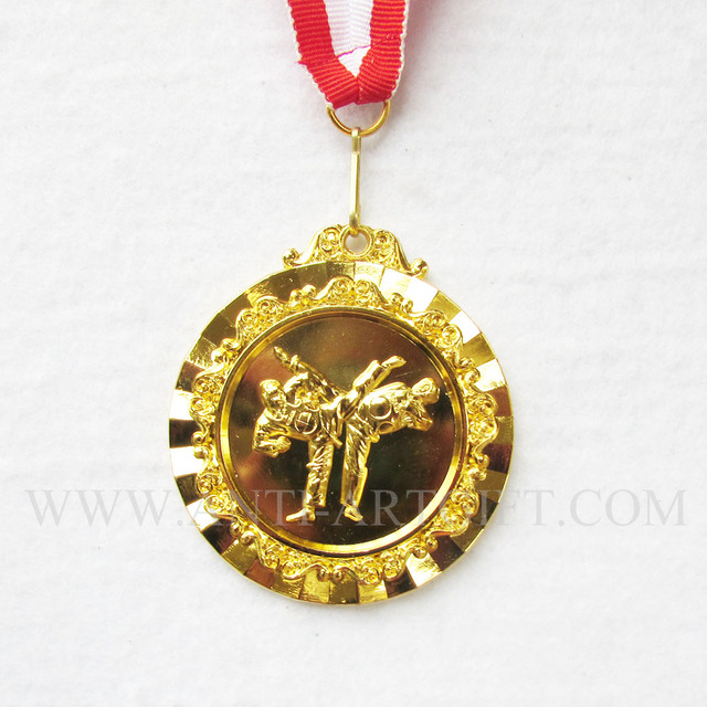 US $410 0 |Customized gold medals for sports taekwondo award with red  ribbon enamel medals high quality No MOQ-in Pins & Badges from Home &  Garden on