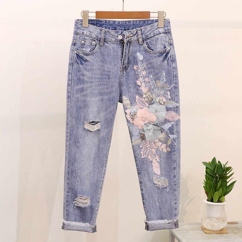 Amolapha Phụ Nữ Thêu 3D Hoa Sequin Bông Áo Thun + Trung Calf Jeans Twinset Trung Bê Jean 2 PCS Phù Hợp Với