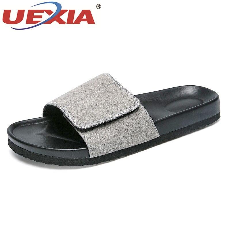 UEXIA Men Slippers Summer Flats 2018 Summer Men Shoes Breathable Beach Slippers Wedge Black White Flip Flops Men Brand Slides fghgf shoes men s slippers mak