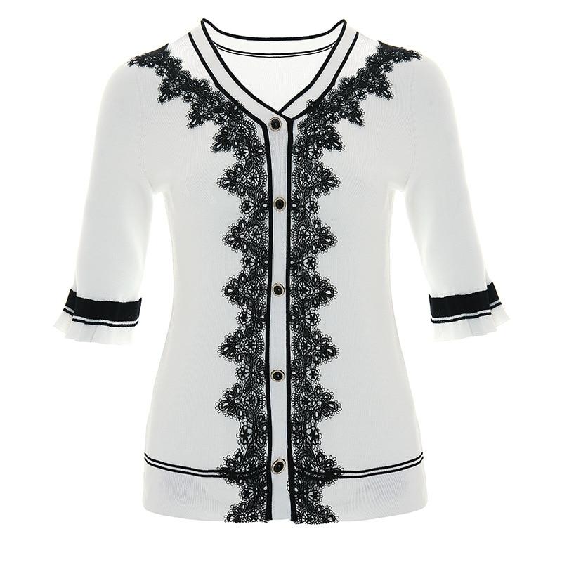 Cardigan Suéteres Primavera Punto Calidad Casual Botón Tops Moda Abrigo 2019 Patchwork Cordón Verano Mujer De Alta Encaje w4UqE5U