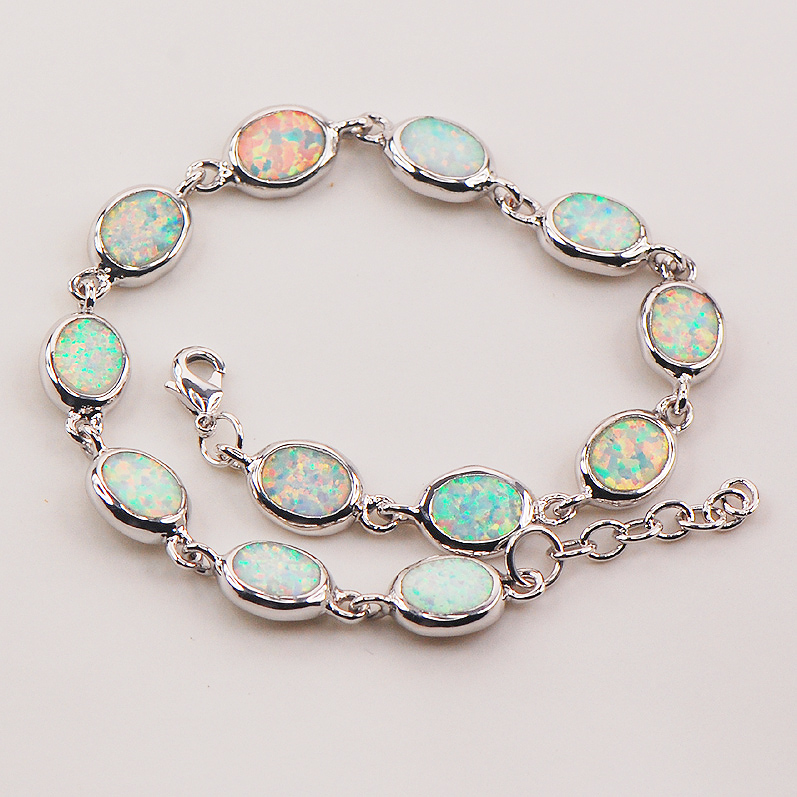 Free Shipping White Fire Opal 925 Sterling Silver Bracelet 7.5+0.5 P83