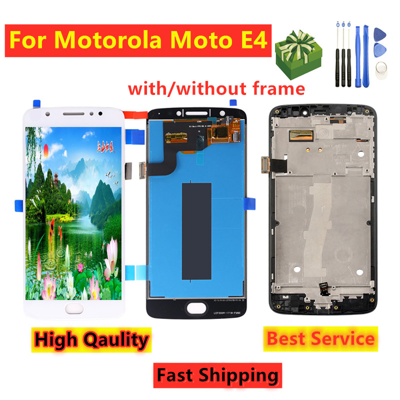 For MOTO E4 <font><b>XT1762</b></font> XT1763 <font><b>LCD</b></font> with frame For Motorola Moto E4 <font><b>XT1762</b></font> <font><b>LCD</b></font> Display Touch Screen Digitizer Assembly Replacement image
