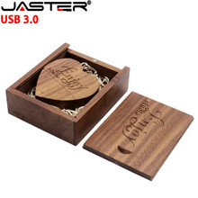 Флэшка в виде прищепки 3,0 (более 10 шт бесплатный логотип) грецкий орех деревянное сердце + Подарочная коробка USB флэш-накопитель USB креативный Флешка 8 ГБ 16 ГБ 32 ГБ 64 ГБ