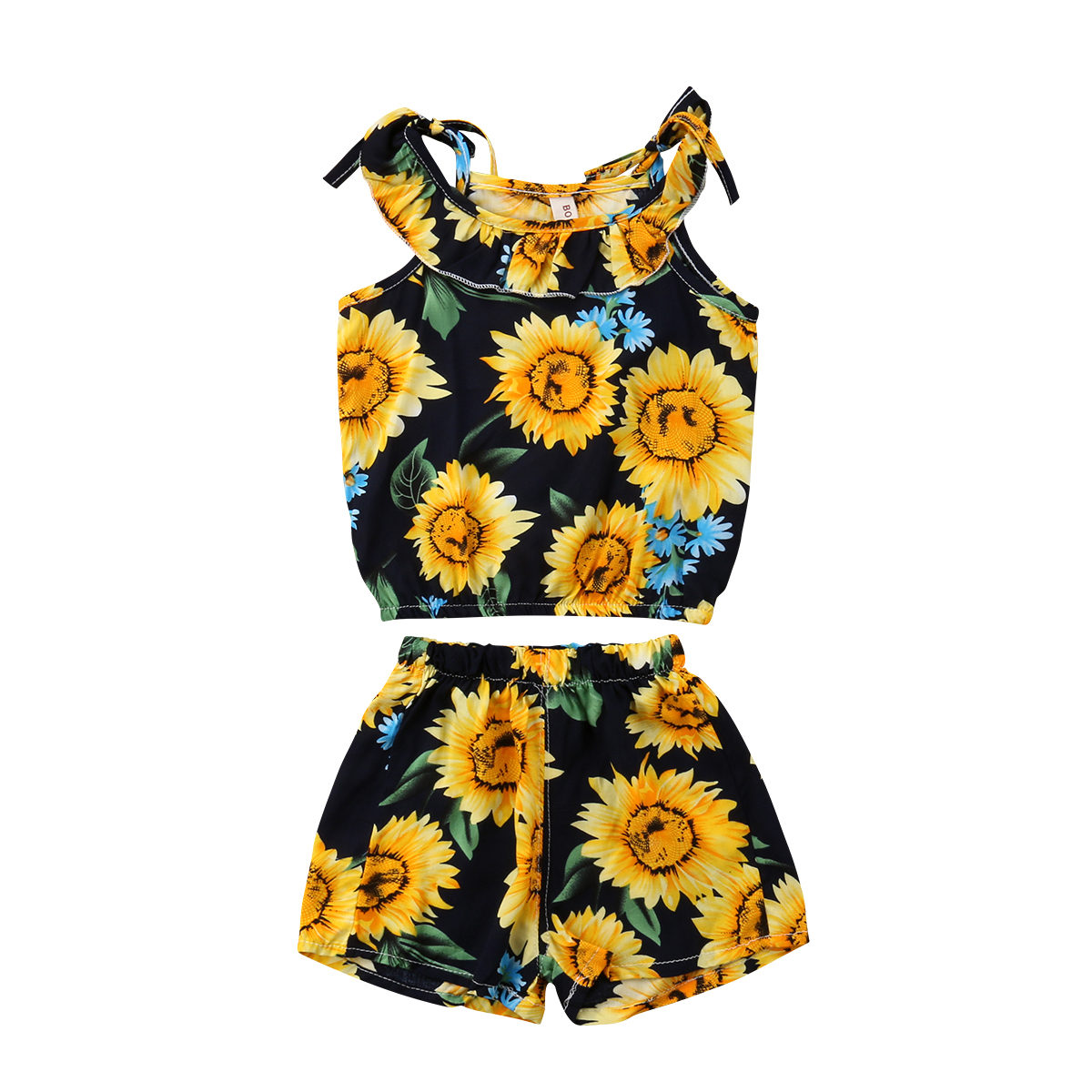 Summer Toddler Baby Girl Set Clothes Sunflower Tops Shorts
