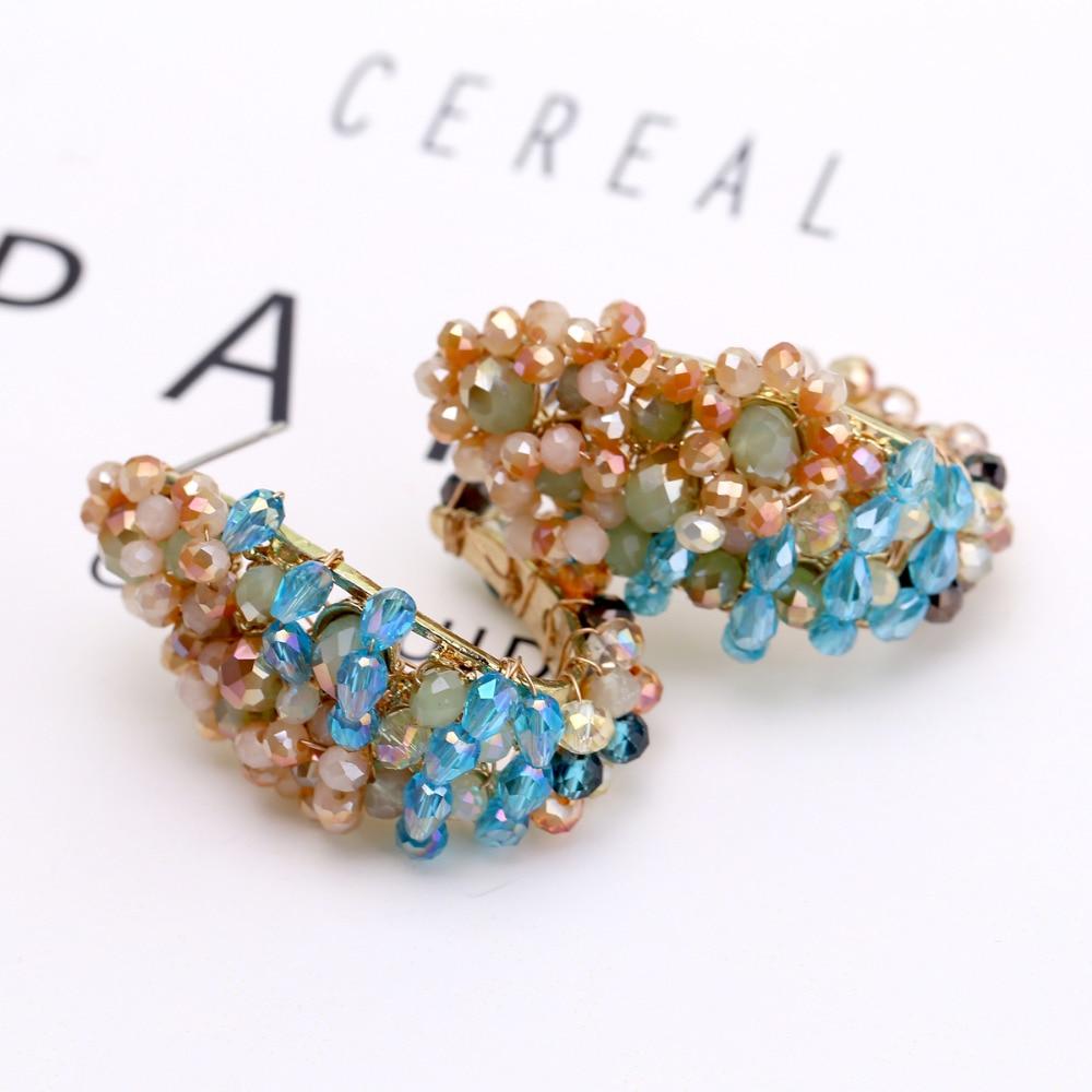 Luxury Multicolor Crystal Statement Women Hoop Earrings for Girls Handmade Style C Shape Fashion Earrings Wedding Party Jewelry in Hoop Earrings from Jewelry Accessories
