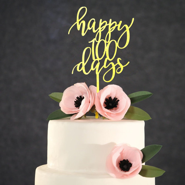 Mirror Gold Happy 100 Days Cake Topper 55 Inches Wide Baby Birthday Party Decoration Shower Favors