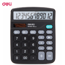 Deli Electronic Scientific calculator office financial 12 digit real talking pocket solar Desktop calculator battery dual power key bench calculator 5500 calculator solar dual power metal surface office electronic calculators for financeira school