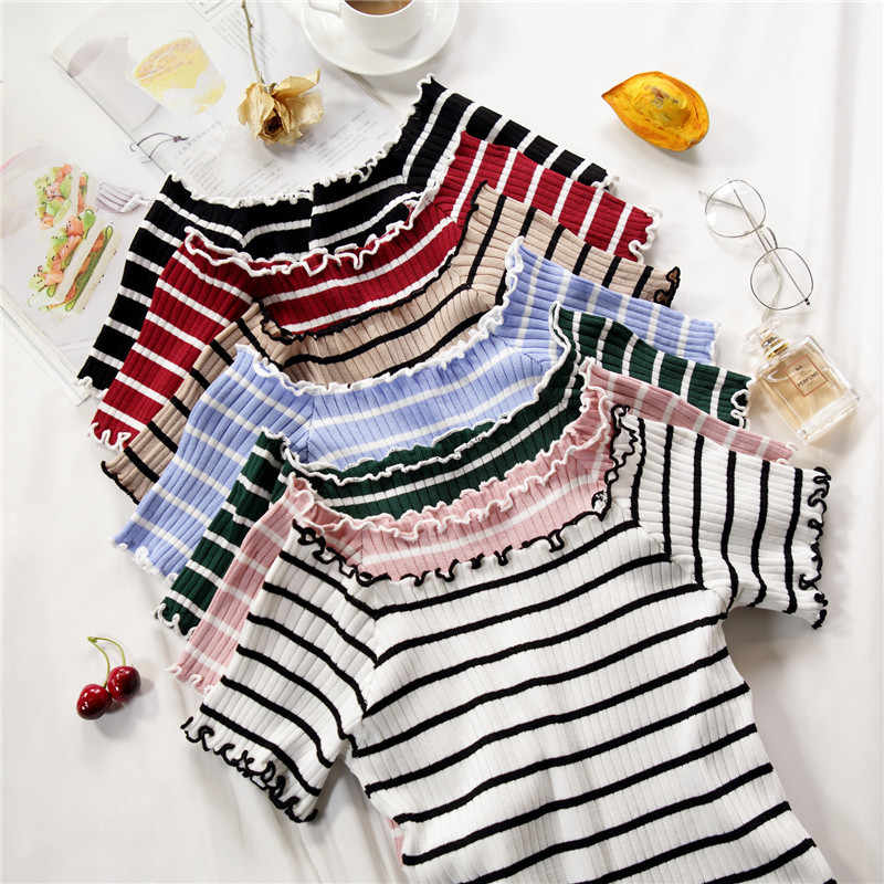 stripe square collar cropped T-shirt new female students short sleeve tshirts crop tops for woman 2019 summer