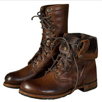 Vintage Brown Color PU Leather Lace Up Martin Ankle Boots Motorcycle Boots for Men