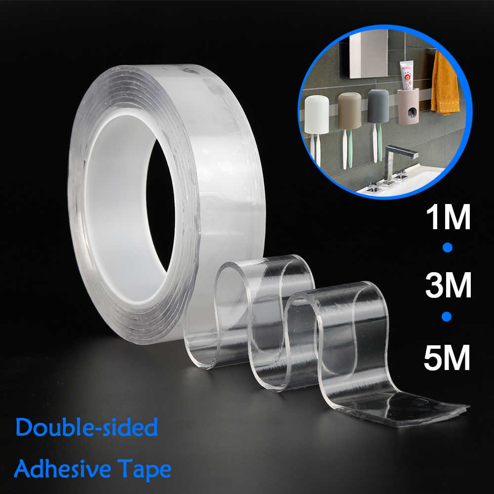 Reusable Double Sided Adhesive Nano Magic Tape Removable Strong Traceless Gel Grip Tape Washable Adhesive Loop Glue 1/2/3/5m