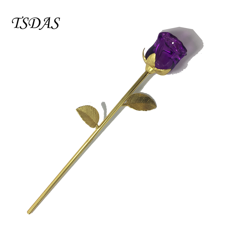 Free Shipping Purple Crystal Glass Rose Flower 24k Gold Plated Art Craft Eternal Flower Valentine's Day Favors