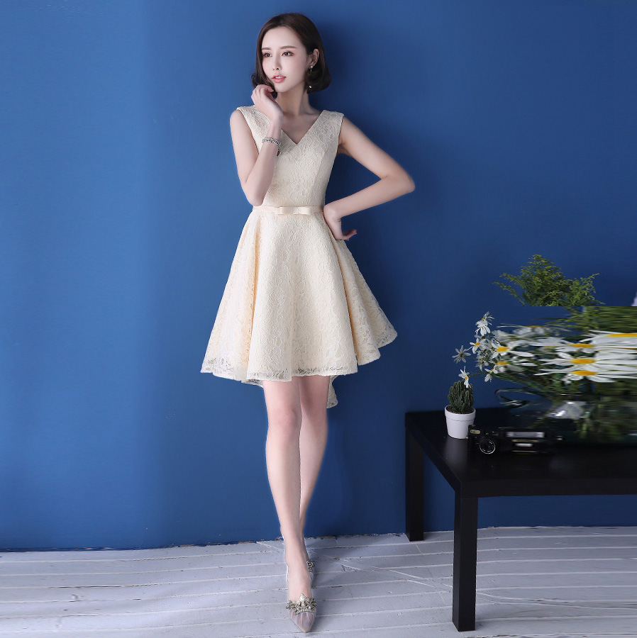 Robe de soiree2017 Sexy V Темно-Темно-Синий Черный Шампанское Высокий/Низкий платья невесты плюс размер brautjungfernkleid
