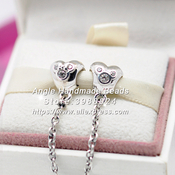 2017 Fashion S925 Sterling Silver Heart of Mickey CZ Safety Chain Charms Fit European DIY Bracelets Necklace Jewelry Making S097