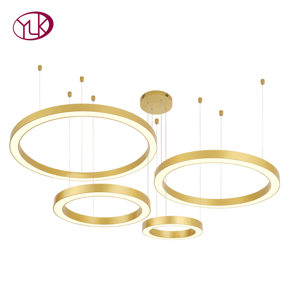 Top Luxury Modern LED Chandelier Lighting Free Combination Rings Chandeliers For Living Room Circle Polished Steel/Aluminum Lamp