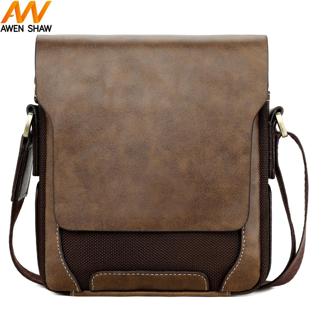 Awen Shaw Vintage Oxford Patchwork Leather Mens Shoulder Bag Handbag Classic Durable Travel Crossbody Bags For Men