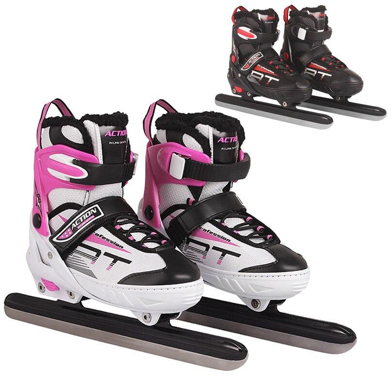1 paire adulte femmes enfants glace en acier au carbone lame patins chaussures thermique réglable patinage de vitesse Sports d'hiver polaire épaisse