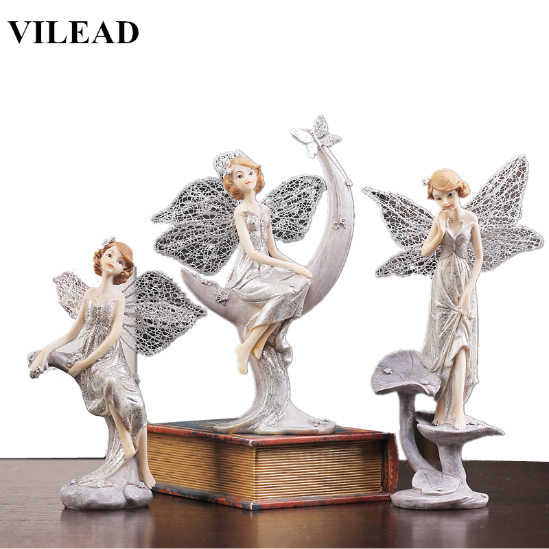VILEAD 3 Styles Resin Angel Figurine Modern Angel Fairy Statue Beautiful Angel Sculpture With Wings Vintage Home Decor Souvenirs