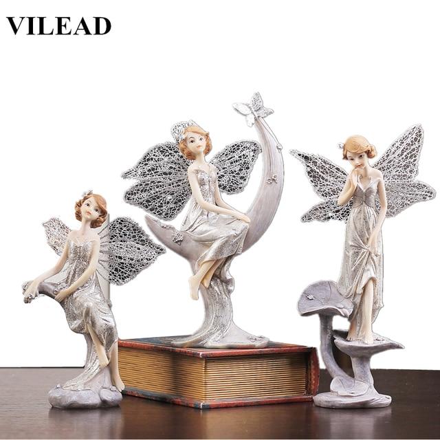 VILEAD 3 סגנונות שרף מלאך צלמית מודרני מלאך פיות פסל יפה מלאך פיסול עם כנפי Vintage בית תפאורה מזכרות