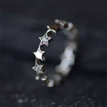 Anillos de plata de ley 925 con forma de estrella de cristal para mujer, anillo ajustable de moda de plata de ley, joyería de declaración Simple