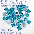 Rhinestones de acrílico Flatback Cuadrado de Tierra Facetas 5mm 100 unids Muchos Colores de Imitación Floja Pegamento En DIY Jewelry Making