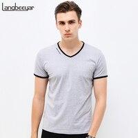 New Mens T Shirts Fashion Summer V Neck Slim Fit Short Sleeve T Shirt Men Mercerized