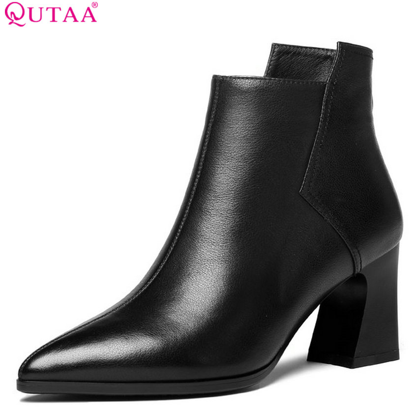 QUTAA 2019 Women Ankle Boots Cow Leather+pu Fahsion Women Shoes Platform Zipper Pointed Toe Casual Women Boots Big Size 34-42 qutaa 2019 women ankle boots platform square high heel pointed toe black cow leather pu winter shoes women boots big size 34 42