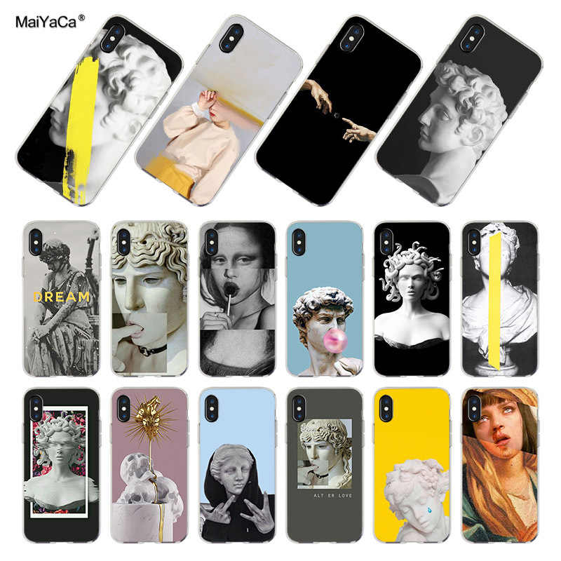 MaiYaCa Vintage Plaster Statue David Art Printing Case For iPhone 7 Black Phone Case for iPhone 8 7 6S Plus X 5 5S SE XR XS MAX