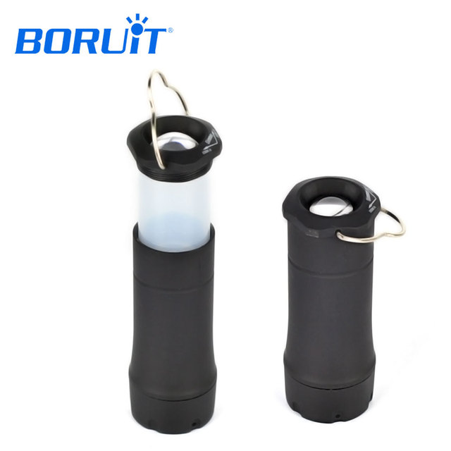 BORUiT MINI LED Portable Lanterns 3-Mode Zoomable Flashlight Outdoor Lighting Torch Camping Tent Lantern Light Use AAA Battery