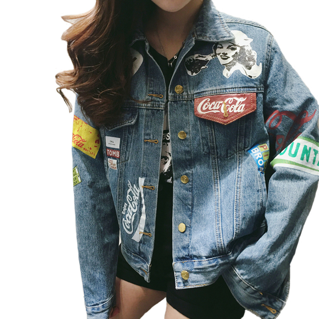 4878569c63a98 2019 Spring Graffiti Denim Jacket Women Streetwear Loose Vintage Coat  Single Breasted Casacos Feminino Jean Jacket