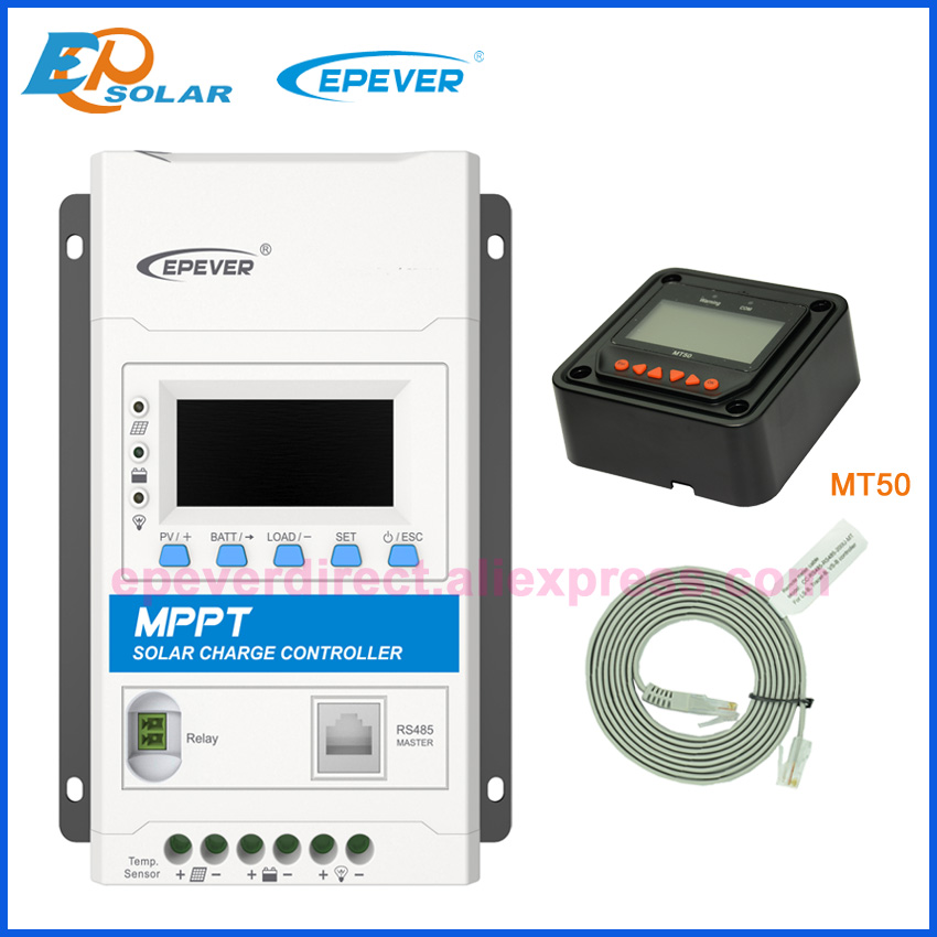 EPEVER New 40A MPPT solar charger controller 12v 24v 40amp auto with RELAY COM MASTER TRIRON4210N