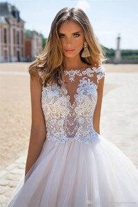 Image 3 - Boho 2020 קו תחרת אפליקציות סקסית ללא משענת חתונת שמלות לבן נסיכת כלה שמלה בתוספת גודל gelinlik
