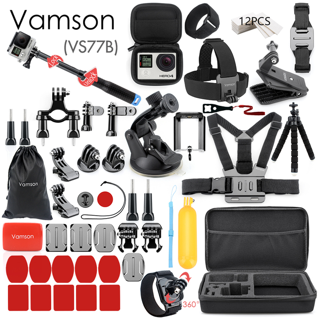 Vamson for Gopro Accessories Set for go pro hero 7 6 5 4 3 kit 3 way selfie stick for Eken h8r / for xiaomi for yi EVA case VS77