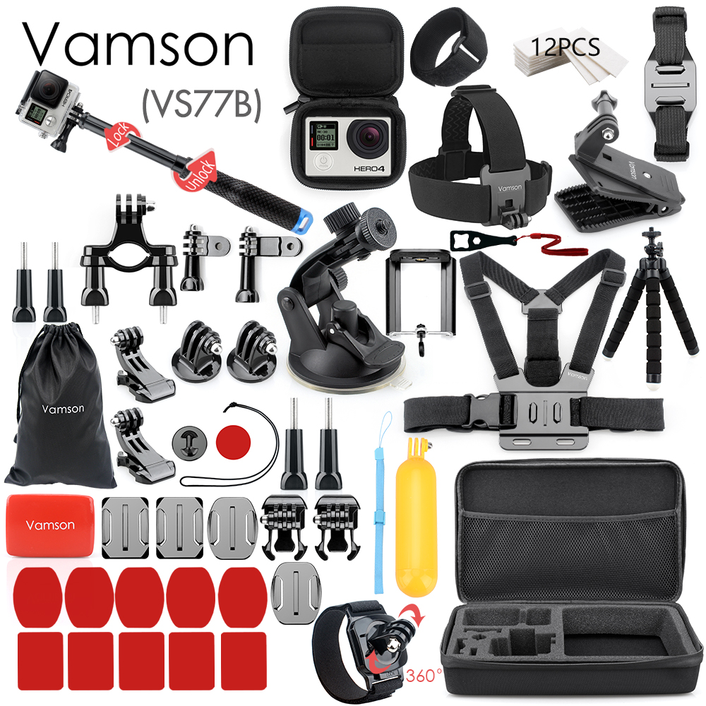 Vamson para Gopro accesorios para ir pro hero 7 6 5 4 3 kit de 3 selfie palo para Eken h8r/xiaomi para yi caso de EVA VS77