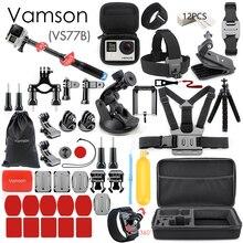 Vamson para gopro acessórios conjunto para go pro herói 9 8 7 6 5 4 kit 3 vias selfie vara para eken h8r/para yi eva caso vs77