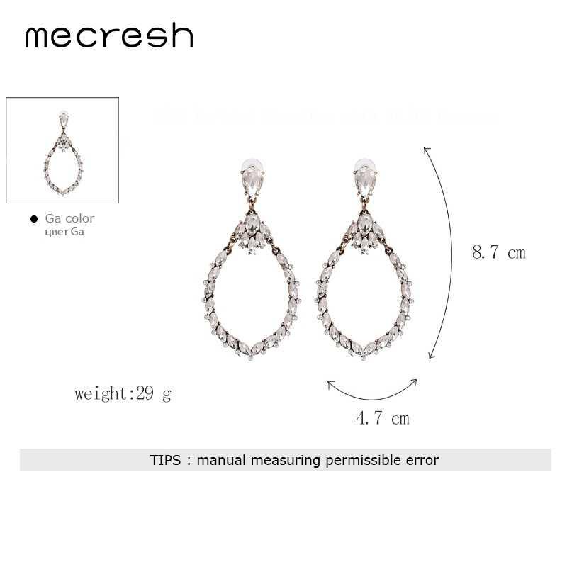 Mecresh Vintage Geometric Clear Crystal Dangle Earrings 2018 Ethnic Metal Teardrop Big Earrings Christmas Gifts for Women EH1201