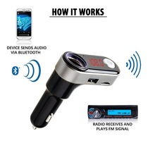 Wireless In-Car Bluetooth FM Transmitter Radio Adapter Car Kit With USB Charger Support USB Flash Drive Micro SD Card AUX Input