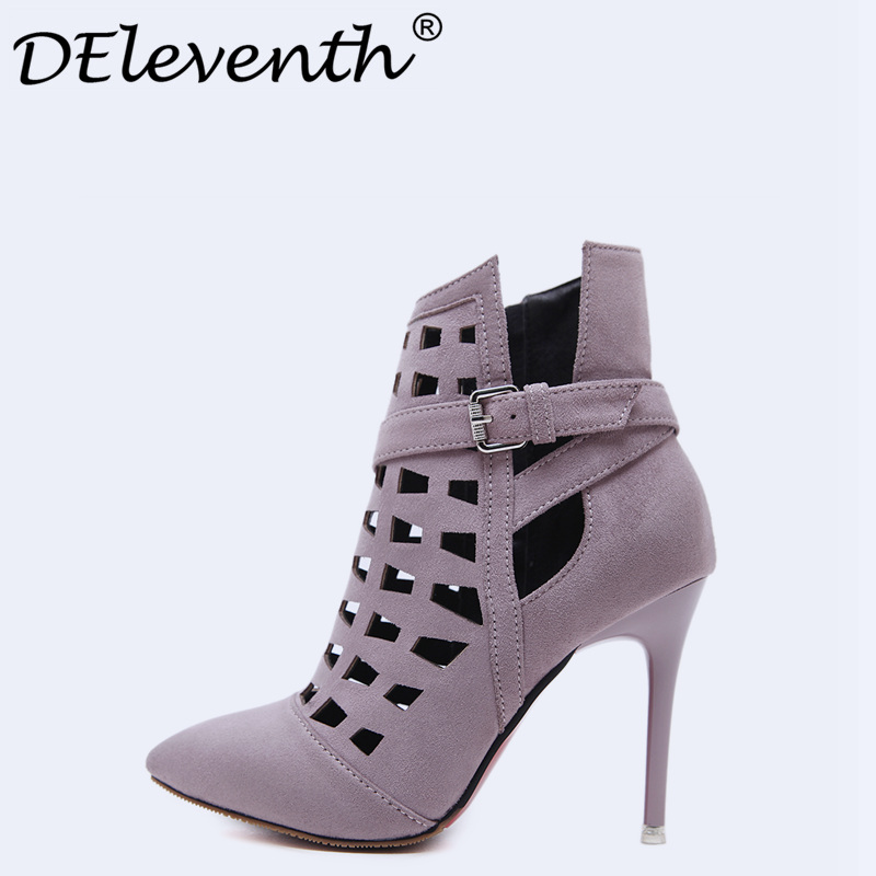 Fashion Sexy Women Wedding Boots Black Gray High Heels Boots Lady Shoes Stiletto Pointed Toe Cut-outs Zipper Ankle Boots Bootie classic fashion women s club banquet wedding shoes sexy suede zipper 17 cm in stiletto heels
