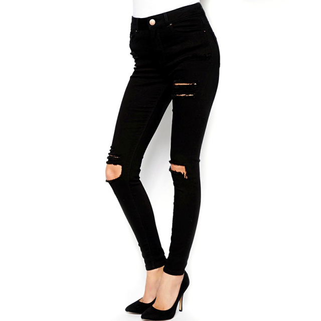 Women's High Waisted Knee Ripped Black Skinny Jeans