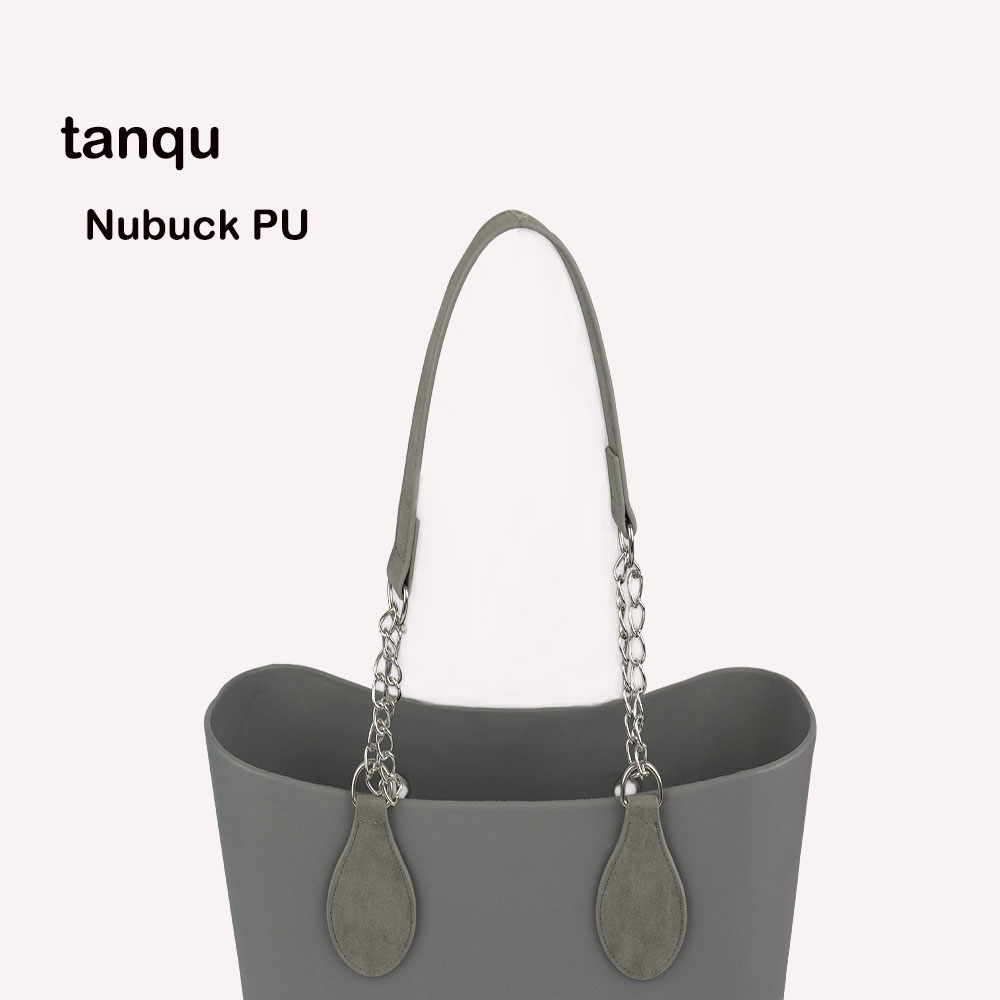 Tanqu 1 Pair Nubuck Leather Edge Painting PU Chain Handle With Tear Drop For O Bag For EVA Obag Women Bag