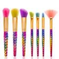 Nuevo Maquillaje 2017 Colores 7 UNIDS Pinceles de Maquillaje Fundación Fan Kits Diamante Manija Del color Del Gradiente de Sombra de Ojos En Polvo de Maquillaje Cepillo Conjunto