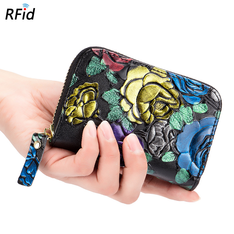 2018 Rushed New Arrival Short Painted Rose Organ Card Package Female Multi-card Rfid Leather Zipper Small Bag Mini Ladies Coin