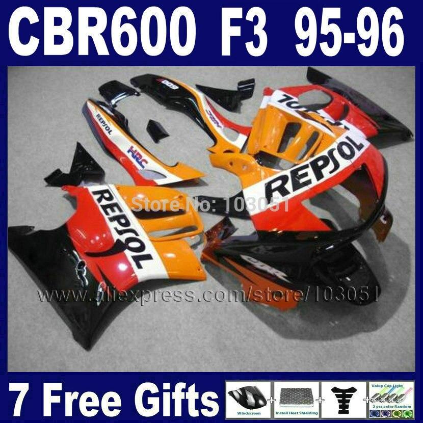 Custom Motorcycle Road fairings kits for Honda repsol CBR600 F3 1995 1996 CBR600F CBR 600 F3 95 96 body fairing kit+tank cover