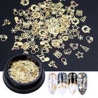 1 Bottle 3D Gold Metal Slices Nail Art Decoration Christmas Snowflake Star Mixed Design Hollow Tiny Slice Nail Accessories TR708